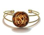 Tortoise Shell Monogram Bracelet, Monogram Bangle, Monogram Jewelry, Bridesmaid Gift, Personalized Bracelet - Style 493