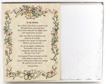 Personalized From the Bride to her Mother Wedding Handkerchief - BH101