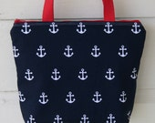 White Anchors On Navy Blue Nautical Fully Insulated Lunch Tote- Wet Bag Eco- Friendly and Washable
