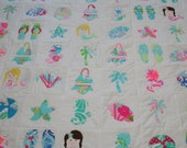 Reserve listing for 54Anne queen size Take Me to the Beach  Blanket made with Lilly Pulitzer Fabric