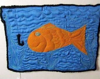 "Wallhanging Felted Fiber Art:  Quilted Office or Home Decor , ""Watch Ouuutt""  , Handmade Unique Item, , blue"