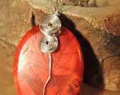 Red Coral Wire Wrap Pendant, Silver Wire Wrap, Gemstone Pendant, Handcrafted Jewelry, Native Style Jewelry, Boho Pendant, Reversible Pendant