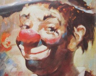 Vintage Framed Clown Print * Wood Frame * Clown Art 50's 1960's