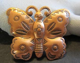 Copper Butterfly Brooch Vintage Southwestern Style 1960's