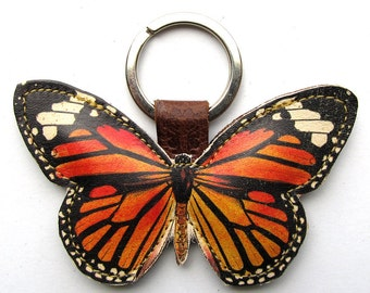 Leather butterfly keychain, butterfly keyring, butterfly bag charm - Monarch Butterfly