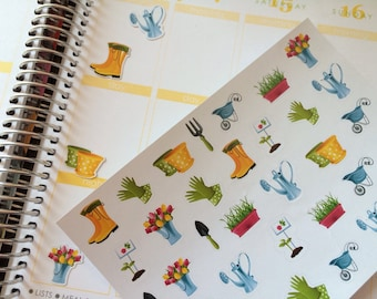 Gardening Stickers, Fits Erin Condren Planner, Stickers, Planner Stickers, Summer Stickers