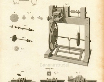 1815 Rare Antique Copper-engraved Plate showing Comb Making Machines