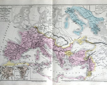 1873 Antique Map of the Mediterranean Basin - Insets of Carthage and Rome - Stunning Large French map