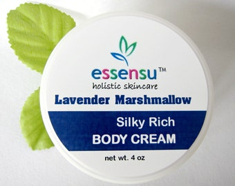 Lavender Marshmallow Silky Rich Natural Body Cream | Long Lasting Moisturization | Vegan Silk Protein | Luxury Formula | No Parabens - 4 oz