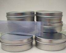 6 Empty 2 Ounce Tins with Lids and Shrink Bands - Soap Making and Cosmetic Supplies - Candy Containers - Bead Storage