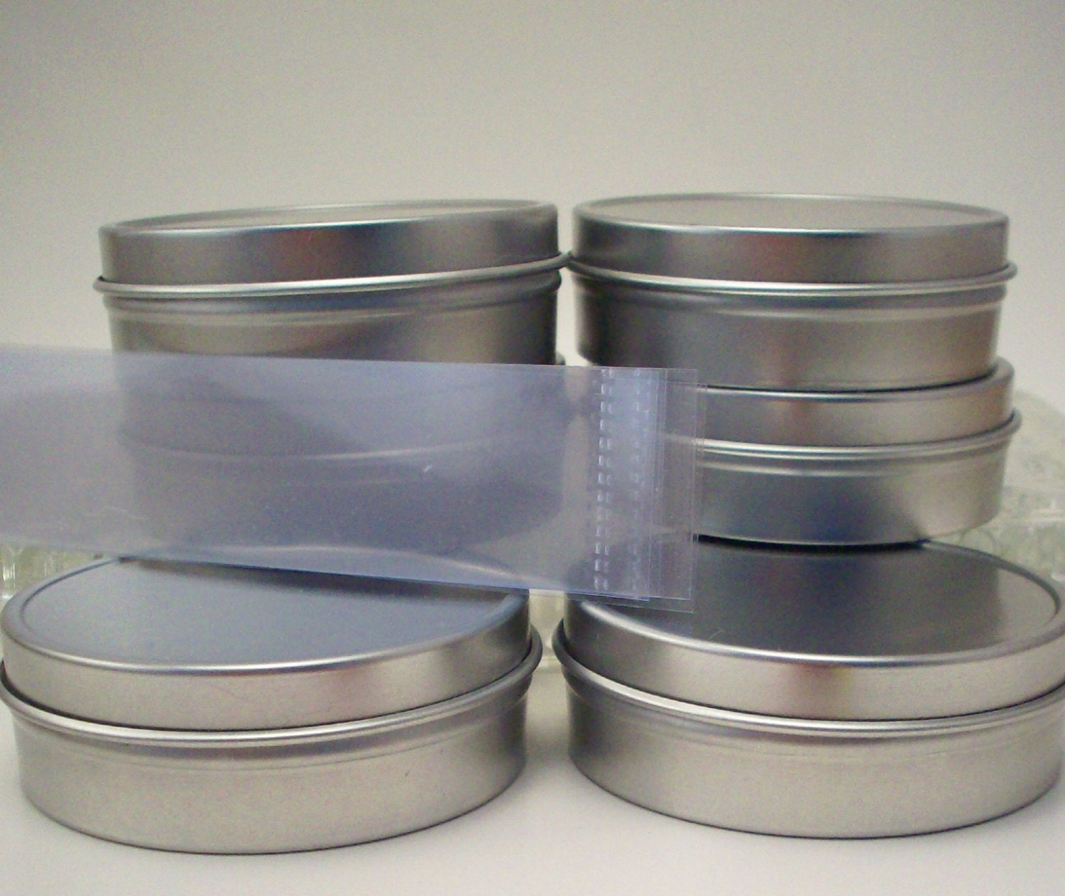 6 Empty 2 Ounce Tins with Lids and Shrink by ManInTheMoonHerbs