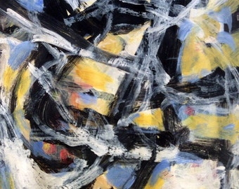 Contemporary modern abstract painting expressionist black white and yellow