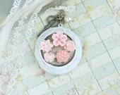 Large Locket Necklace Pink Flower Necklace Victorian Necklace Long Locket Necklace Shabby Chic Jewelry