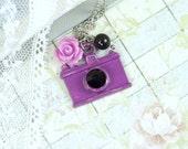 Purple Camera Necklace Photographer Jewelry Camera Charm Necklace Camera Jewelry Photographer Gift