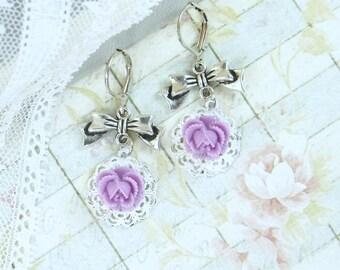 Purple Rose Dangle Earrings Victorian Earrings Purple Flower Drop Earrings Purple Rose Jewelry