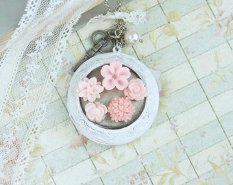 Large Locket Necklace Pink Flower Necklace Victorian Necklace Long Locket Necklace Shabby Chic Jewelry