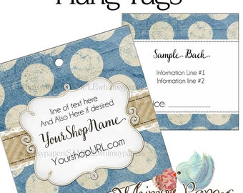 """Custom Hang Tags - 2.5 X 2.5"""" - Double Sided with holes - free shipping"""