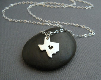 Texas state necklace. TX heart cut out. small sterling silver state jewelry tiny everyday jewelry. dainty travel I love TX pendant. TX pride