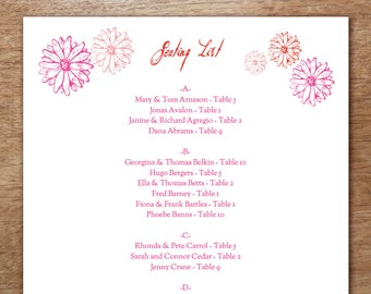 Printable Seating List - Wedding Seating List Template - Instant Download - Seating Chart PDF - Red & Pink Daisies - Gebera Daisies