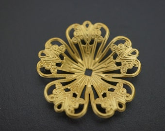 Medium Size Plain Simple Raw Brass Round Filigree Stamping with Settings Bead Caps (Buldged) - 32mm - 8 pcs