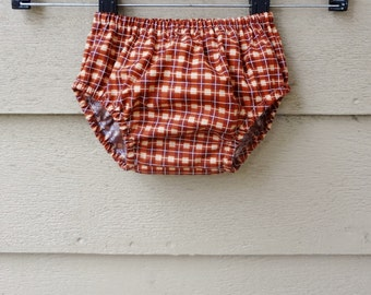 Bloomers  6-12 months Red and Brown Plaid Diaper Cover