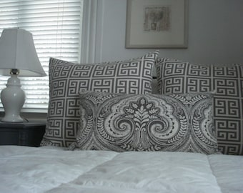 NEW-BOTH SIDES- Decorative Designer Pillow Cover --Brindle- Grey -Ivory -Taupe  Modern Paisley Throw /Lumbar Pillow