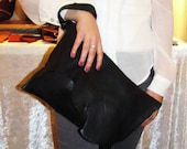Black leather case, leather clutch, raw edged leather folds over envelope bag, leather iPad case