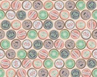 Sew Charming - Sew Spools in Coral - Riley Blake - Half Yard Cotton Fabric