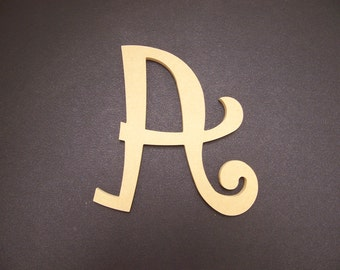 """16"""" Unfinished Wooden Letters, Curlz font, 1/2"""" thick w/Key Hole, Ready to Paint, Made in USA 16CZ50-2      -4"""