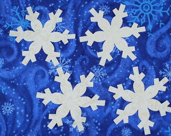FOUR Fabric Applique Iron-On Snowflakes,  White with Silver or Gold Fairy Frost Glitter Fabric, 4 inch fusible snowflakes, Quiltsy Handmade