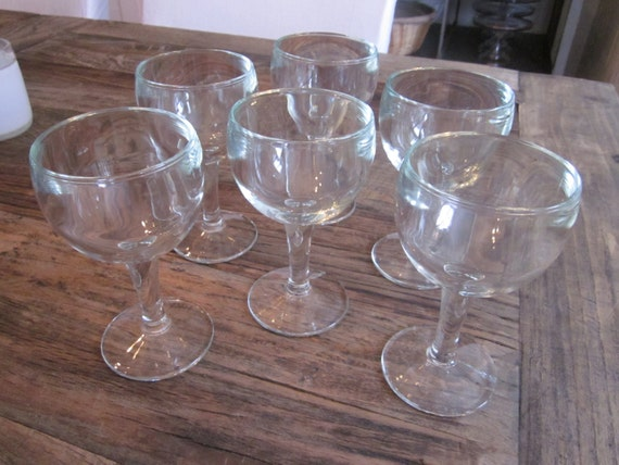 Vintage French cafe bistro wine glasses. Set of six