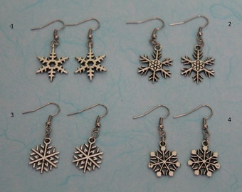 Tibetan Silver snowflake earrings - sterling silver upgrade available