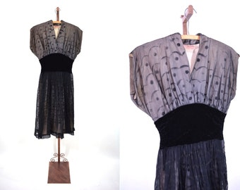 1950s cocktail dress | black illusion Claudia Young Original party dress | vintage 50s dress | AS IS W 26""