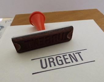 URGENT Vintage Plastic Rubber Office / Desk Stamp