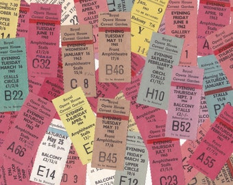 Pack of 8 Vintage British Theatre Ticket Stubs Coloured 1960's Ephemera for Collage Altered Arts Mixed Media
