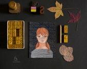 Lucie cute girl illustration stripes redhead - Postcard