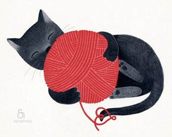 Black cat red yarn cute illustration children decor - The cat print 8 x 11.5  print based on an original illustration