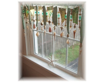 Memories of Puget Sound Mossy Green Driftwood Window Treatment Valance
