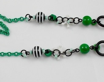 Eyeglass Chain, Lanyard, OOAK, Handmade, Green, Black, White