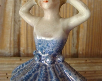 Antique Fired Bisque/Porcelain Ballerina Shabby Chic Pin Cushion half Doll