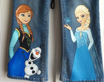 Custom Disney  clothing Painted Frozen Princess Anna, Elsa, Olaf 3 character jeans. Sz 12 m to 24m/ 2T to 12 teen