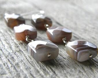 Botswana Agate Earrings, Grey Square Earrings, Modern Stone Earrings