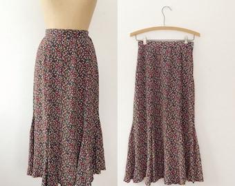 vintage rayon skirt / 80s skirt / Confetti Print skirt