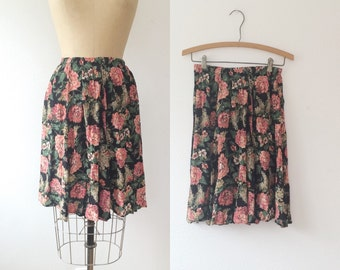 floral print skirt / 80s skirt / Printemps skirt