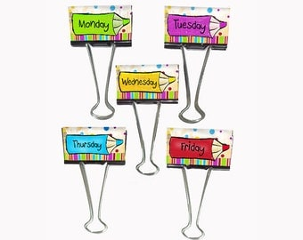 "Teacher Gift Organizer Personalized Binder Clips 2"" wide Pencil Monday through Friday"