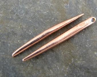 Rose Gold Vermeil Spike - Rose Gold Vermeil Pendulum Charms - One Pair - csprgv