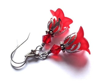 Red Lucite Flower Earrings, Crystal Swarvoski Earrings, Sexy, Ruby, Red Earrings, Art Nouveau, Antique Silver, Vintage Earrings, Valentine