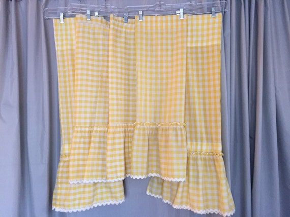 Yellow Gingham Curtains Set Ruffle Ric Rac By