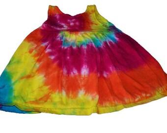 Tie Dyed, Sunshine Rainbow Spiral Tie Infant  Toddler Empire Waist Sun Dress/Jumper/Tunic