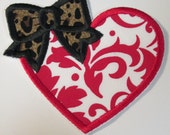 Valentine Day Heart with Bow - Iron On or Sew On Embroidered Custom Made Applique  READY TO SHIP in 3-7 Business Days